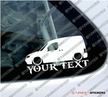 2x Custom YOUR TEXT Lowered car stickers - Peugeot Partner Van 1996-2002 Pre-facelift